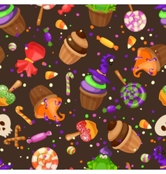 Halloween candy seamless pattern Texture with vector image vector image