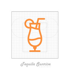 Icon of cocktail with modular grid tequila sunrise vector