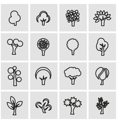 line trees icon set vector image vector image