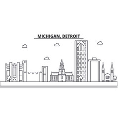 michigan detroit architecture line skyline vector image vector image