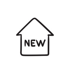 New house sketch icon vector