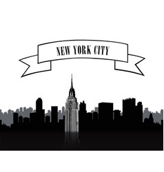 Nyc sign urban city skyline silhouette travel usa vector