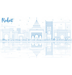 outline rabat skyline with blue buildings and vector image vector image