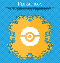 pokeball icon sign Floral flat design on a blue vector image