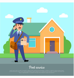 Post service web banner courier delivers package vector