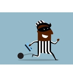 Prisoner in a mask running with credit card vector image
