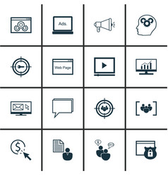 set of 16 advertising icons includes web page vector image