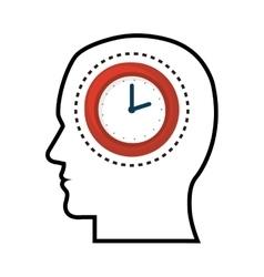 Silhouette head man clock design vector