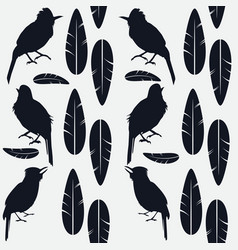 simple seamless pattern of black and singing birds vector image vector image