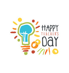 teachers day greeting card with electric lamp vector image vector image