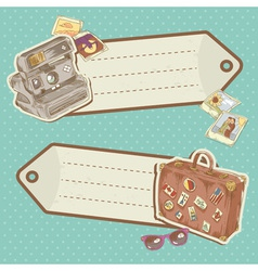 Travel discount stickers with bag and photo camera vector