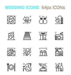 Wedding pixel perfect icons vector image