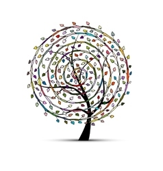 Spiral floral tree for your design vector