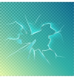 Hole with cracks on screen or glass window vector