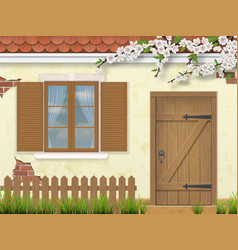 Spring old facade window wooden door vector