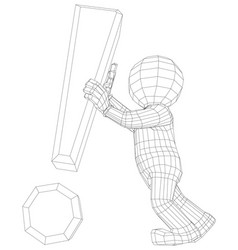 Puppet 3d man holding exclamation sign vector