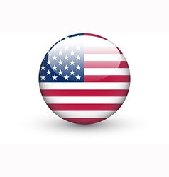 Round icon with national flag of the usa vector