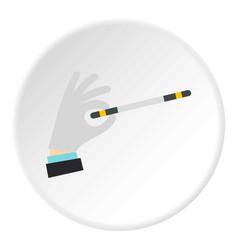Hand with magic wand icon circle vector