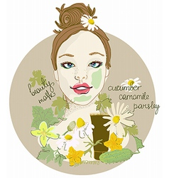 Cute woman with facial mask vector