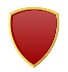 Red shield on white background vector image