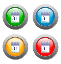 Calendar organaizer icon on buttons set vector