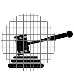 Hammer justice with bars vector