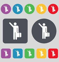 Tourist icon sign a set of 12 colored buttons flat vector