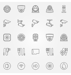 Home security cameras icons vector