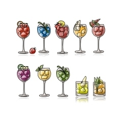 Cocktails collection sketch for your design vector image