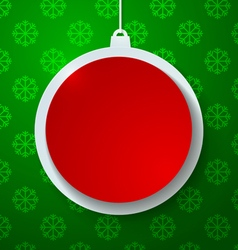 Red paper christmas ball on green snowflakes vector