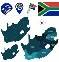 South africa map with named divisions vector