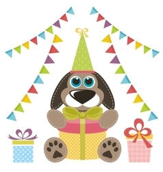 Dog with gifts and garlands vector