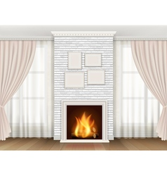 Classic interior with fireplace and windows vector