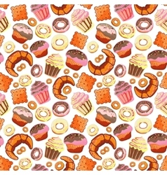 Seamless pattern with various pastries bakery vector