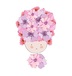 Doodle flowers beautiful girl face vector