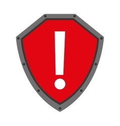 Security shield with alert symbol isolated icon vector