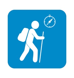 Hiking tourist with compass icon vector