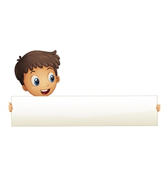 A small boy holding an empty banner vector image vector image