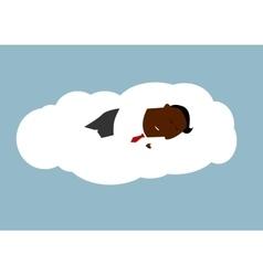 African businessman asleep on a cloud vector