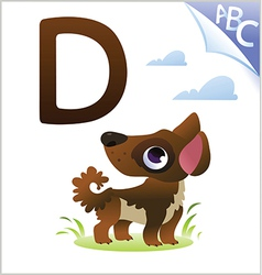 Animal alphabet for the kids D for the Dog vector image