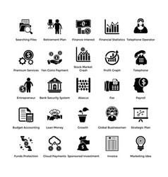 Business and finance glyph icons set 4 vector