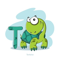 Cartoons alphabet - letter t with funny tortoise vector