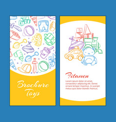 children brochure pages with doodle kids vector image