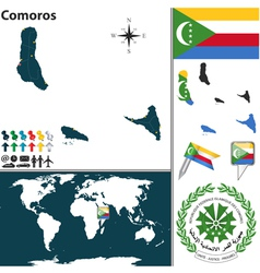 Comoros map world vector image vector image
