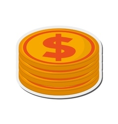 Dollar coin stack icon vector