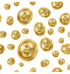 Euro seamless pattern gold coins isolated vector