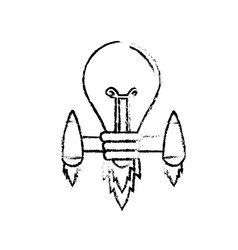 Figure bulb with thrusters to creative idea vector
