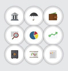 Flat icon finance set of scan growth bank and vector