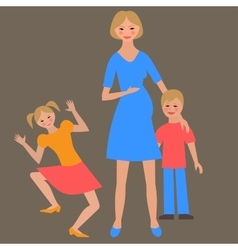 Flat portrait of happy family with mother and vector