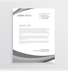 grey wave letterhead design in modern style vector image
